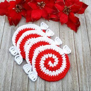 Peppermint Candy Christmas Coaster Set